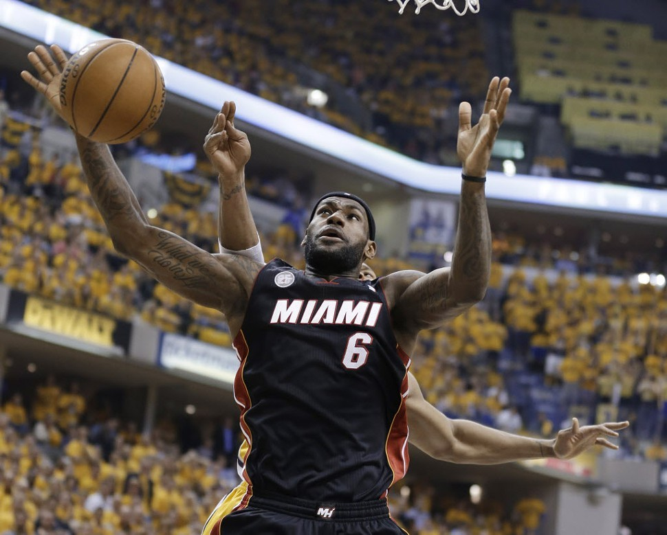 LeBron James playing in game four of the Eastern Conference finals last night