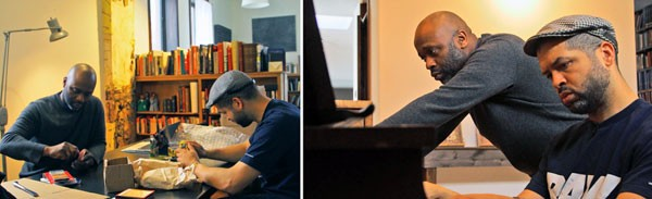 Left: Theaster Gates and Jason Moran try out minstrel-era noisemakers for the premiere of Looks of a Lot. Right: Gates and Moran sight-read early-20th-century sheet music from Gates's Dorchester Projects archives. - GREGG CONDE (LEFT); JOEY ALVARADO (RIGHT)