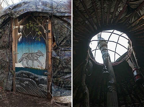 Left to right: door painting by Kara W.; the roof ring