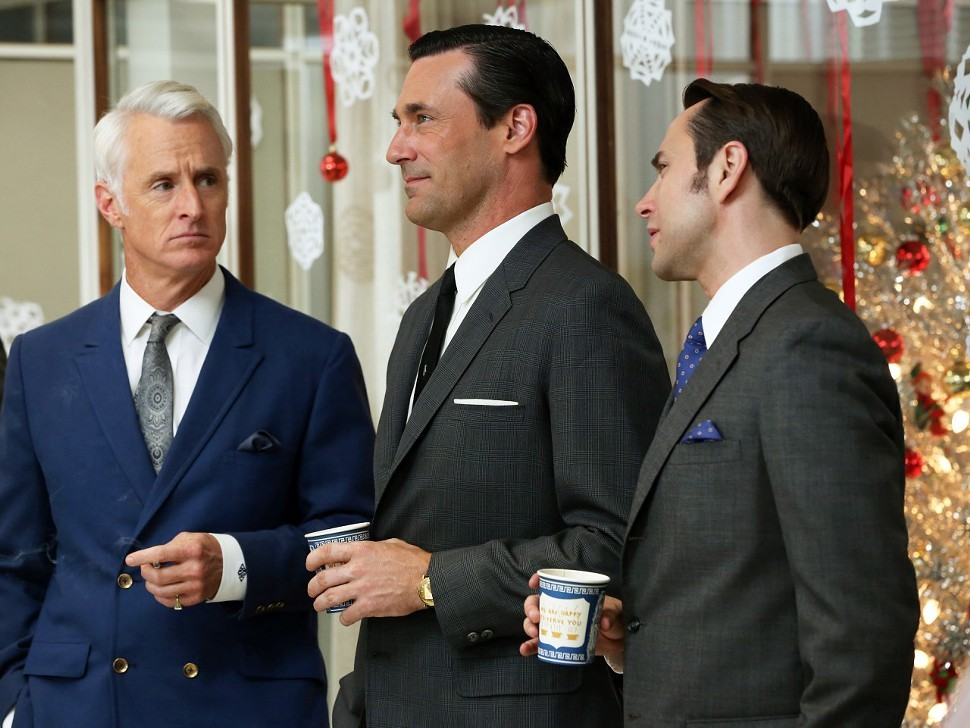 Left to right: John Slattery, Jon Hamm, and Vincent Kartheiser in Mad Men