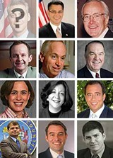 Left to right, top to bottom: aldermen Manny Flores and Patrick O'Connor; aldermen Tom Tunney, Tom Allen, and Eugene Schulter; incoming state rep Deborah Mell, state reps Sara Feigenholtz and John Fritchey; county commissioner Mike Quigley, former Emanuel chief of staff John Borovicka, attorney Jay Paul Deratany