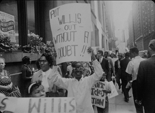 Marchers downtown on October 22, 1963. They were protesting policies of schools superintendent Benjamin Willis that maintained segregation.