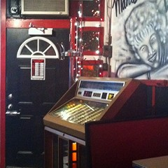 Marie's jukebox and portrait of Marie Wuczynski
