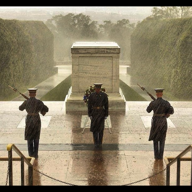 Marines guarding the Tomb of the Unknown Solider during Hurricane Sandy
