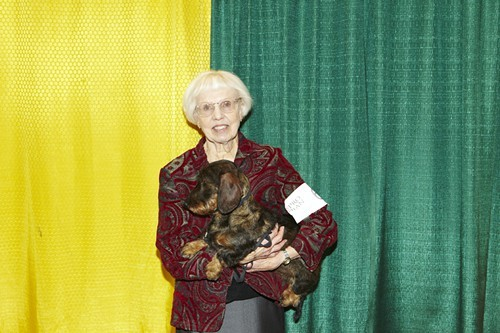 Mary Anne Fowler, owner and handler, and Bauz, a wirehaired dachshund