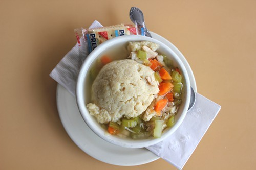 Matzoh ball soup at Frances Deli