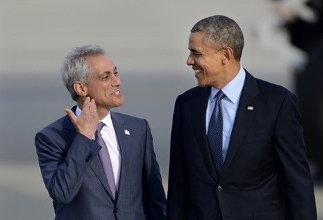 Mayor Emanuel and President Obama at OHare Airport in May.