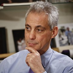 Mayor Rahm Emanuel being interviewed in his City Hall office Friday afternoon.