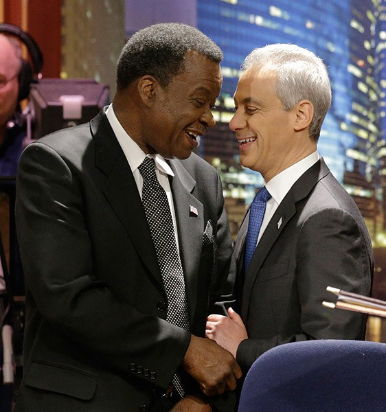 Mayor Rahm Emanuel (right) would really, really like to have an endorsement from former challenger Willie Wilson.
