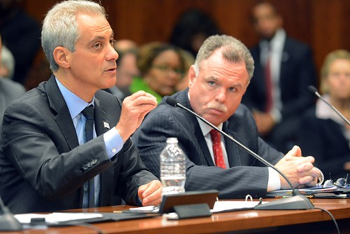 Mayor Rahm Emanuel, with police Superintendent Garry McCarthy at his side, wants to lighten up on low-level drug offenders in exchange for a crackdown on those who violate gun laws.