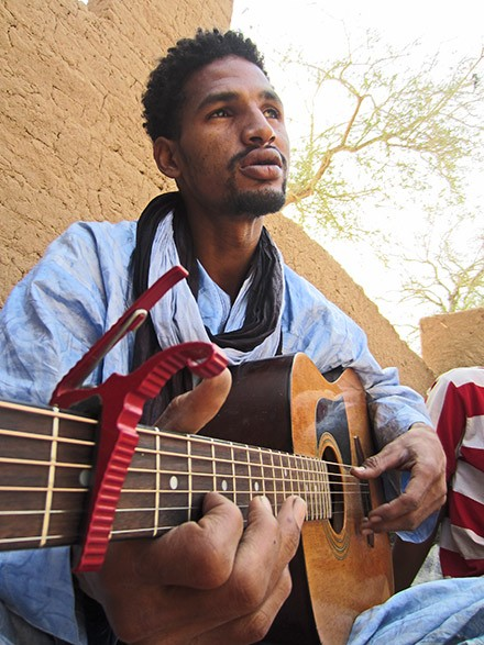 "Mdou Moctar of Abalak, Niger, does a persuasive impression of a robot muezzin on the Music From Saharan Cellphones track ""Tahoultine"""
