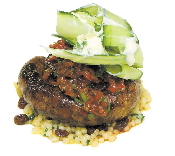 Merguez sausage and Israeli couscous with smen
