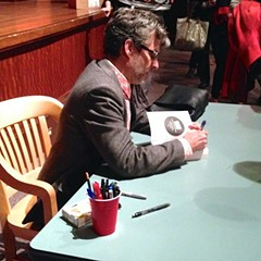 Michael Chabon signs books at the Harold Washington Library.
