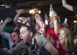 More Blackhawks fans celebrating Monday night