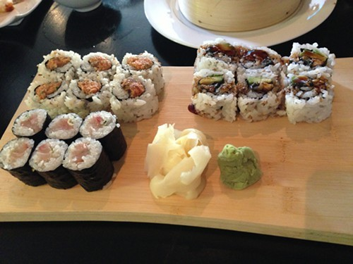Nagi hamachi, spicy tuna, and eel and avocado maki at Runa