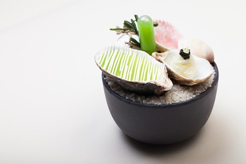 Nootka Sound oyster, green apple, Noilly Prat, celery, from L2O.