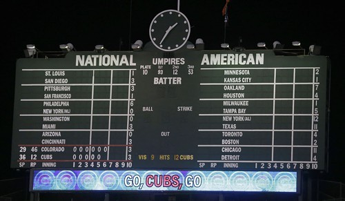Note the clock. Thats AM--this morning. The Cubs had just beaten the Rockies.