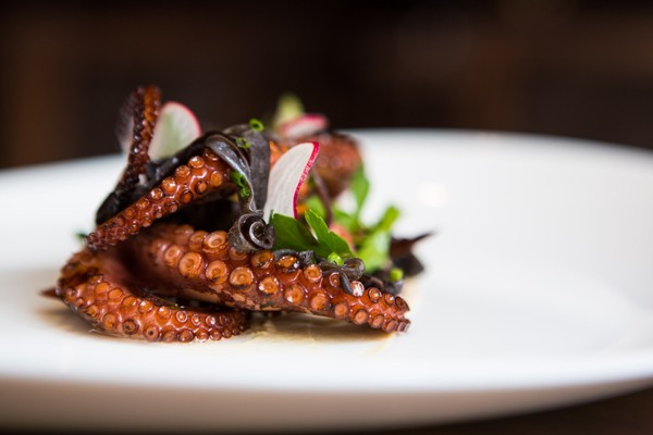 Octopus tentacles over a smear of sweet potato