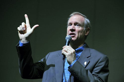 On the agenda for First Tuesdays at the Hideout this week: a reenactment of Bruce Rauner denying that he knows anything about any company he owns.