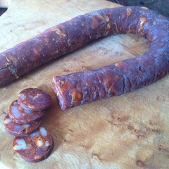 One bite: chorizo