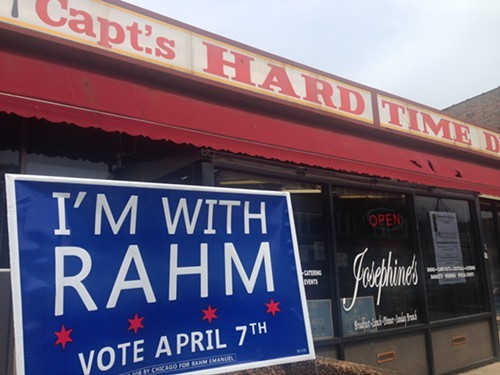 One of multiple Rahm Emanuel campaign signs outside Captains Hard Time Diner, a south side soul food restaurant.