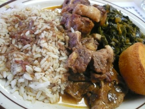 oxtails, greens, and rice