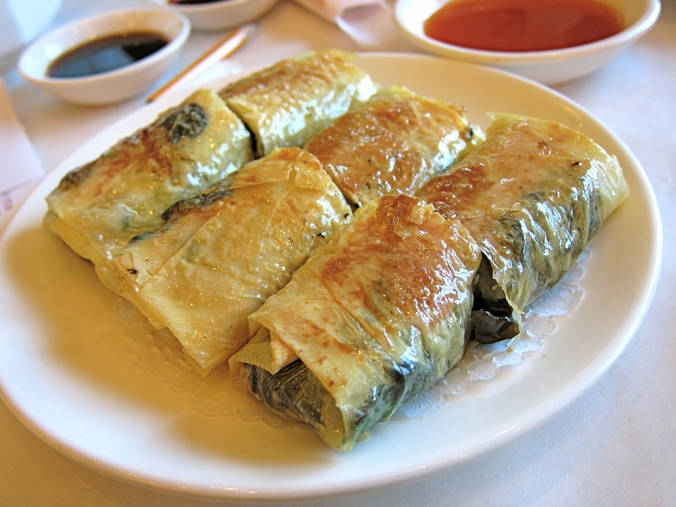 pan fried bean curd crepes filled with mixed vegetable