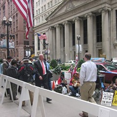 Passersby in occupied Chicago