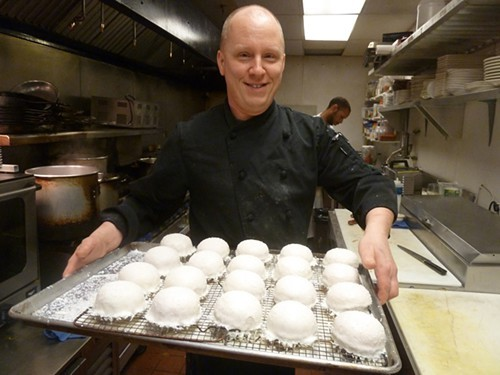 Paul Fehribach with 1840s-style snowballs, from a 2012 bourbon dinner.