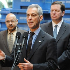 Pictured left to right: Charles Williams, Commissioner of the Dept. of Streets and Sanitation, Rahm Emanuel, and Alderman Joe Moore.