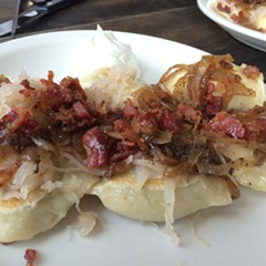 Pierogies with the works, Polak Eatery
