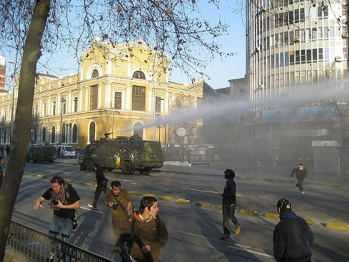 Police using water cannons during another protest in Santiago. Theres usually tear gas mixed in with the water.