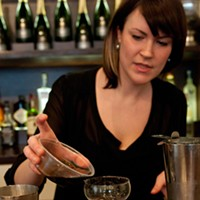 Step-by-step instructions for making a Blackbird bartender's cod milt cocktail Pour some stout syrup (milk or cream stout cooked down with a bit of sugar until thickened) into the bottom of a cocktail coupe. Andrea Bauer