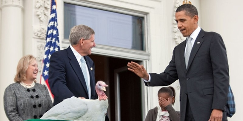 President Barack Obama lays hands on a turkey, 2009
