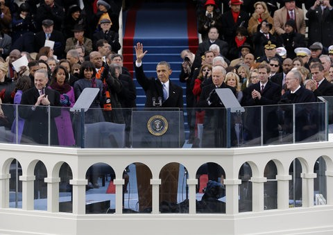 President Obama after delivering his inaugural address.