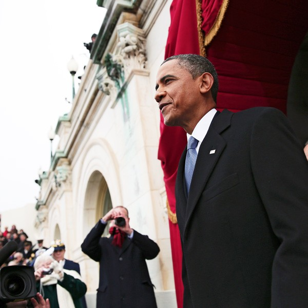President Obama at the U.S. Capitol before delivering his inaugural address
