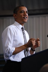 President Obama speaking at a Maryland community college in March