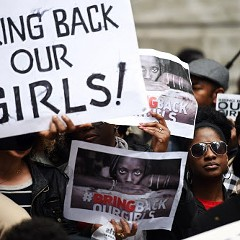 Protestors demonstrate outside Nigeria House in London on May 9 to demand the return of more than 200 Nigerian schoolgirls abducted by the Boko Haram Islamist group.