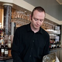 """Spiaggia's Brendan Smith whips up some """"dessert mustard"""" Put a scoop of the honey-mustard gelato into a blender. Andrea Bauer"""