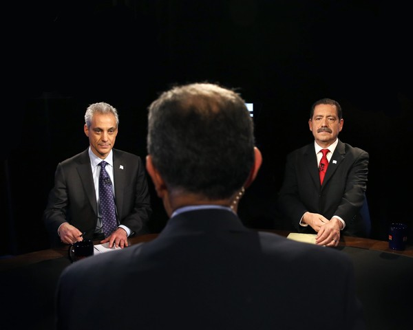 """Rahm Emanuel and Jesus """"Chuy"""" Garcia prepare for the last televised mayoral debate before the April 7 runoff election."""