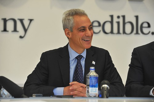 Rahm Emanuel during Fridays debate in front of the Sun-Times editorial board.