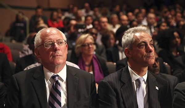 Rahm Emanuel (right) endorsed Governor Pat Quinn as the mayor shifts leftward before his own reelection bid.