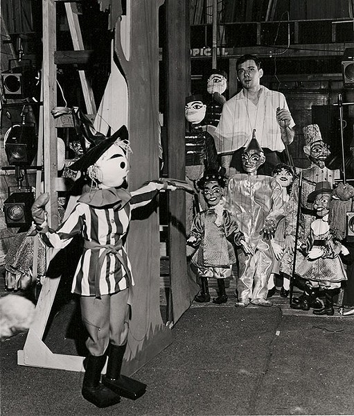 Ralph Kipniss and the marionettes he used for his production of The Wizard of Oz in 1964 or '65 - COURTESY JOSEPH LEWIS