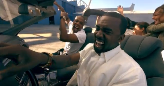 rap dad Jay-Z and rap dad to-be Kanye in the video for Otis