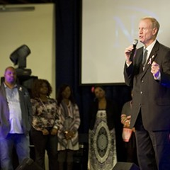 Republican Bruce Rauner addresses the congregation at New Beginnings Church of Chicago, whose pastor, Corey Brooks, has endorsed him.