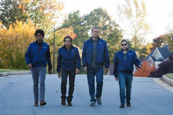 Richard Ayoade, Ben Stiller, Vince Vaughn, and Jonah Hill in The Watch