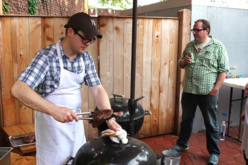 Rob Levitt and Tom Mylan on the patio at Honey Butter Fried Chicken