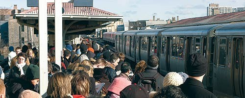 Rush hour at the Belmont Red Line stop