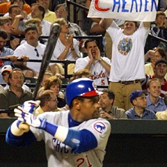 Sammy Sosa at the plate in 2003, four years after Bill Clinton paid him homage during a State of the Union address
