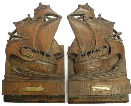 Schroeder's boat-shaped bookends carved from the HMS Warspite